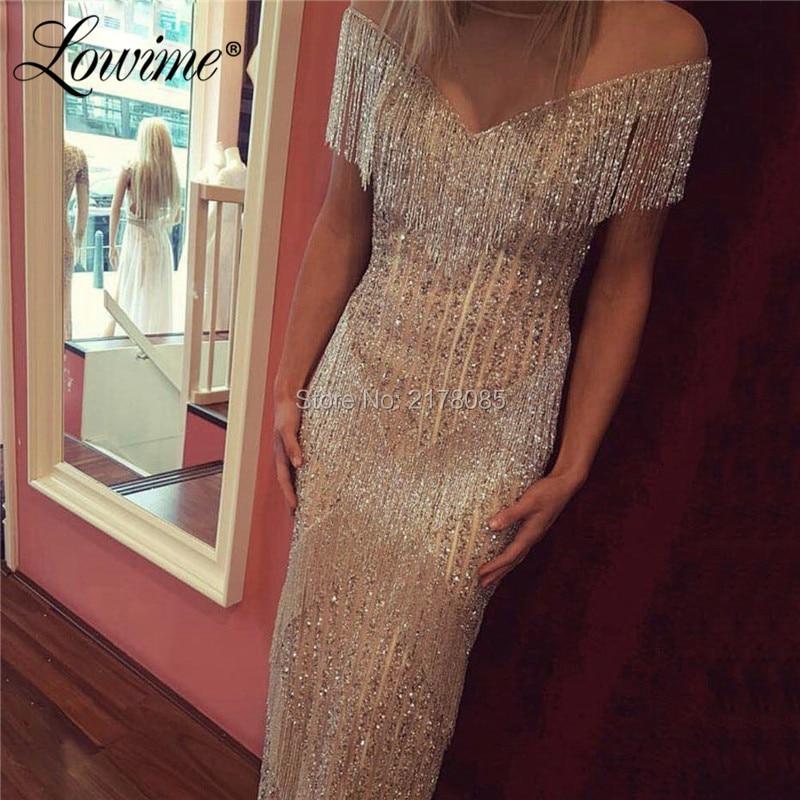 Great Gatsby Tassel Beaded Evening Dresses Diamond Silver Crystals Arabic Party Gown Turkish Islamic Dubai Mermaid Prom Dress