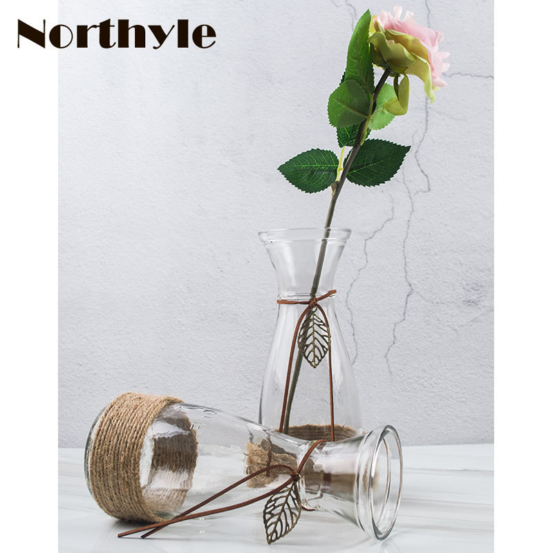 DH Pastoral style flower glass vase rope theme bottle home decoration tabletop Terrarium party