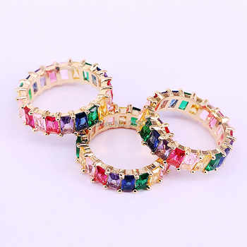 5Pcs Rainbow CZ ring colorful zirconia elegance luxury fashion gold color statement rings for women - DISCOUNT ITEM  24% OFF All Category