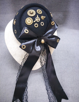 Women Steampunk Fascinator Mini Top Hat Hair Clip Punk Gothic Gears Ribbon Lace Decoration Headwear Hair Accessories Gothic 1