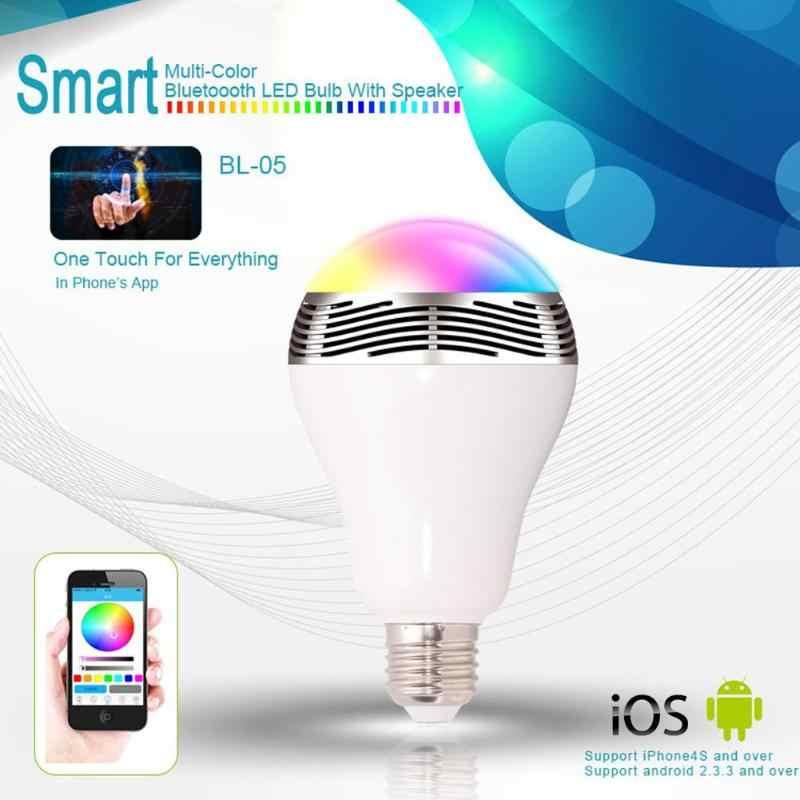 Details over E27 Bluetooth Controle Smart Music Audio Speaker Led-lampen Rood/orange/geel/groen/licht blauw/blauw/paars Kleuren