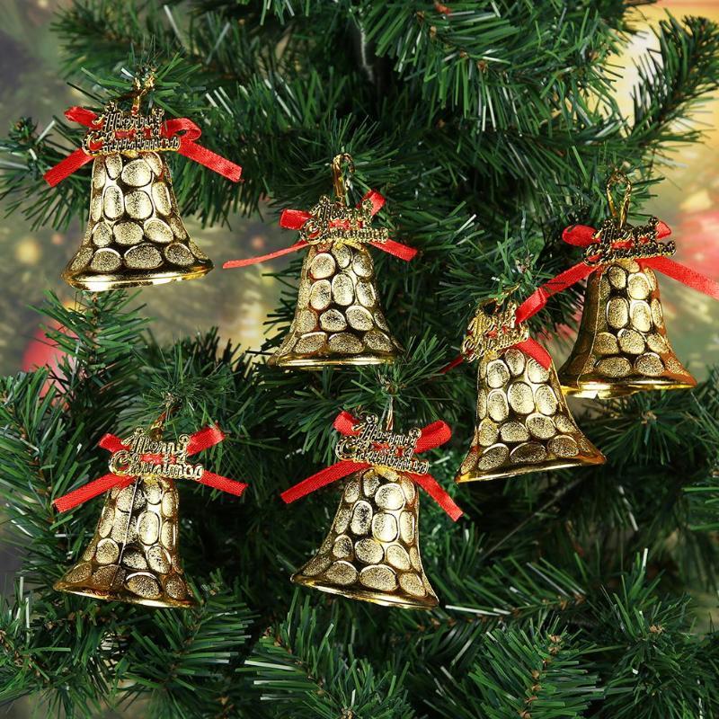 6pcs Plastic Christmas Bells Pendants Xmas Tree Hanging Jingle Bell Ornaments For Home New Year ...