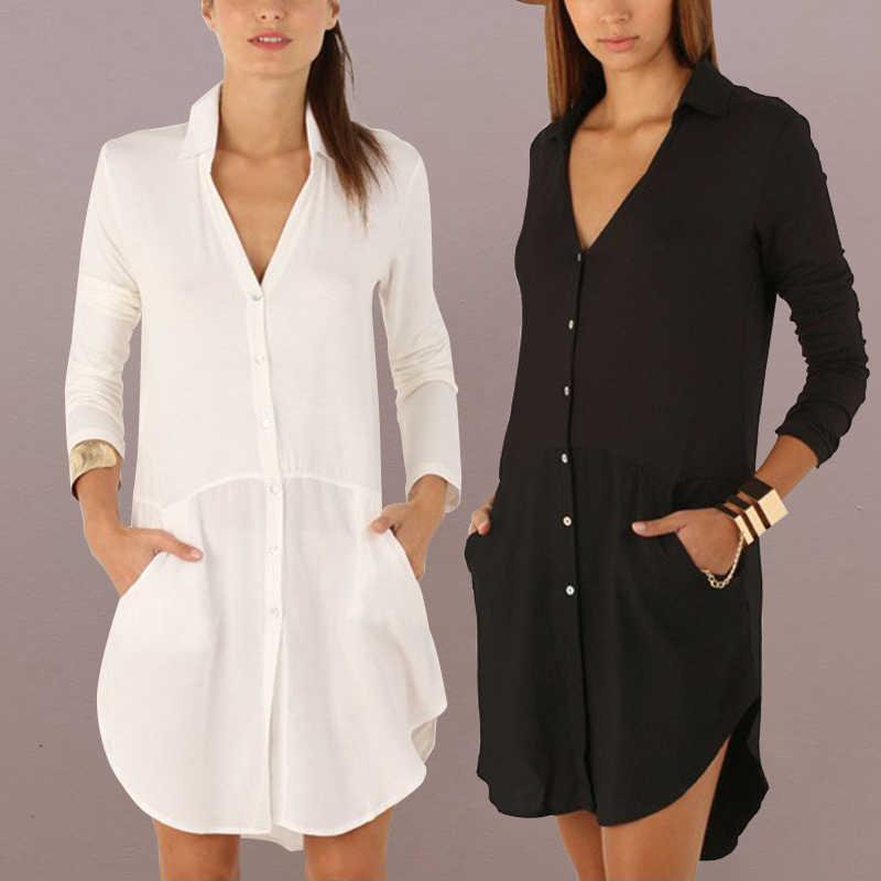 ad4ba04232 Celmia Women Shirt Dress Long Blouse Top 2018 Summer Sexy V Neck Long Sleeve  Asymmetric White