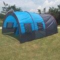 Большая кемпинговая палатка Водонепроницаемая парусиновая стекловолокна 5 8 человек семейный туннель 10 человек палатки оборудование откры...