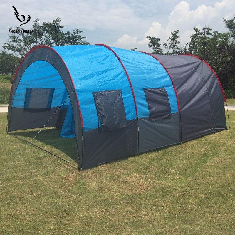 Grande tente de Camping toile imperméable en fiber de verre 5 8 personnes Tunnel familial 10 personnes tentes équipement extérieur alpinisme fête