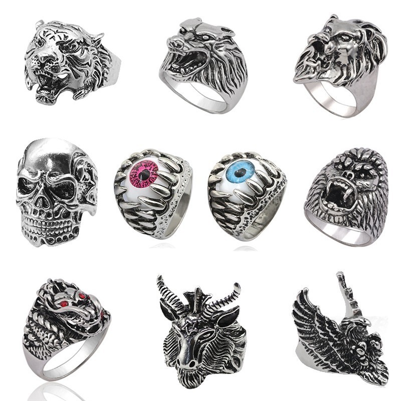 Punk Skull Vintage Tiger Ring For Men Steampunk Retro Hollow Stainless Steel Rings Gothic Male Jewelry Hip Hop Dropshipping 2019(China)