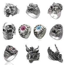 Punk cráneo Tigre Vintage anillo para hombres Steampunk Retro hueco anillos de acero inoxidable gótico hombre joyería Hip Hop Dropshipping. Exclusivo. 2019