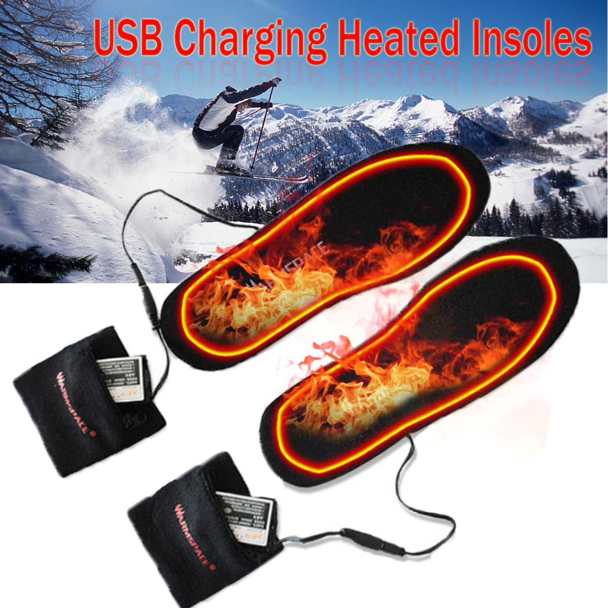 Electric Heated Insoles Winter Men Women Heated Shoe Inserts Charged Insoles For Shoes Boot Warm Socks USB Charging Cables