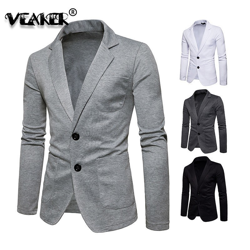 2019 New Spring Knitted Blazer Men Casual Knit Slim Suit Jackets Business Brand Casaco Masculino Male Brand Waite Blazer Jaqueta