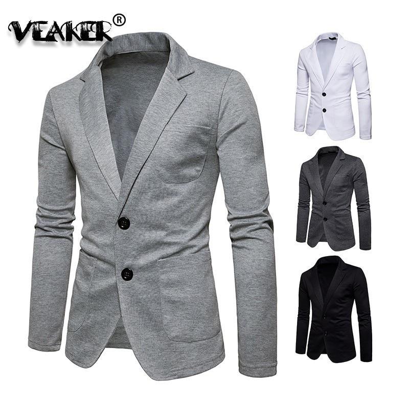 2019 New Spring Knitted Blazer Men Casual Knit Slim Suit Jackets Business Brand Casaco Masculino Male Brand Waite Blazer Jaqueta
