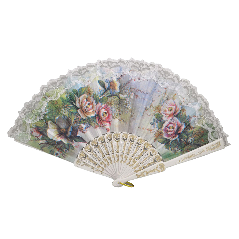 Hot Sale Hollow Out Rib Peony Print Lace Trim Folding Fabric Hand Fan Colored