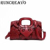 Women Leather Handbag Vintage Bags Embossing Printing Designer Floral Handbag 2018 Luxury Tote Bag High quality bolsa feminina