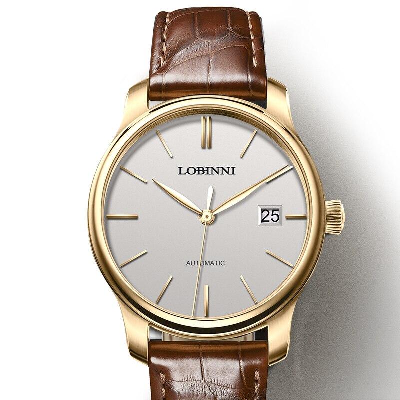 Reloj de marca de lujo LOBINNI reloj hombres Japón Miyota movimiento mecánico automático relojes de hombre zafiro resistente al agua relogia L12035 3-in Relojes mecánicos from Relojes de pulsera    1