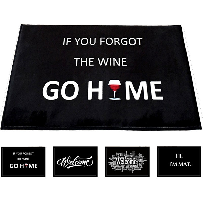 Home Decorative Front Door Mat If You Forgot The Wine Go Home Printed Flannel Anti Slip