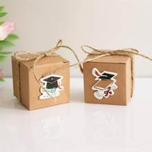 20PCS Vintage Kraft Paper Graduation Candy Treat Boxes Gift Boxes with Doctoral Cap Card Tag for Graduation Party Favors(China)