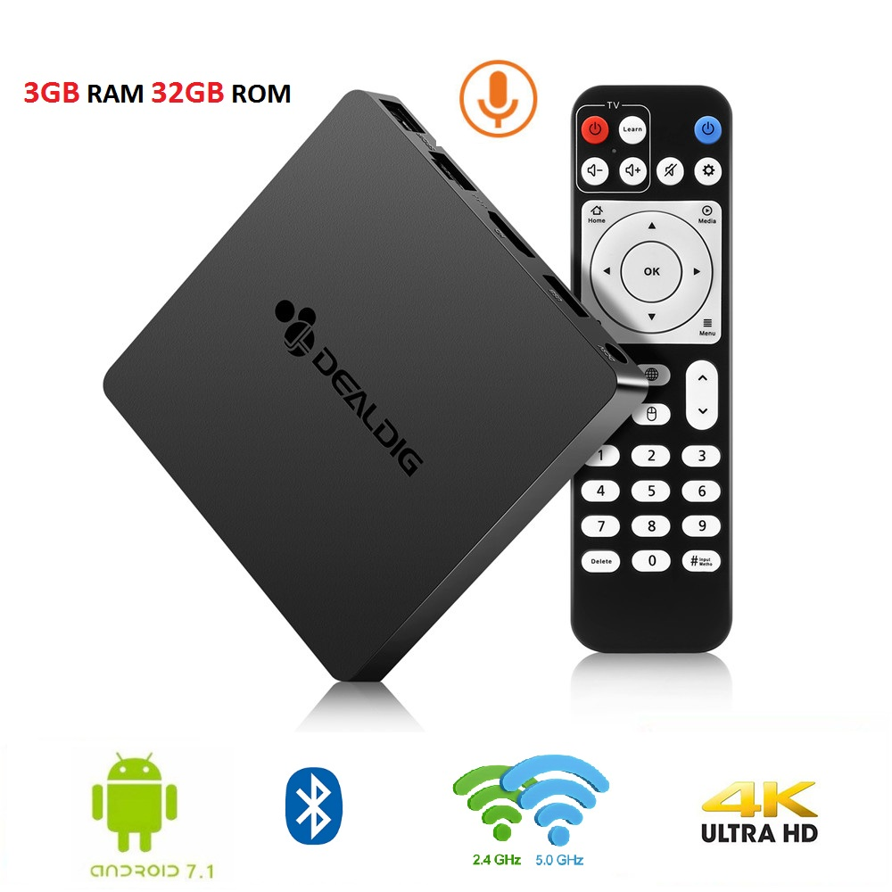 DEALDIG BOXD6 TV Box Amlogic S912 Octa Core 3GB RAM 32GB ROM Android 7.1 décodeur 2.4G/5G Wifi commande vocale prise en charge 4K BT