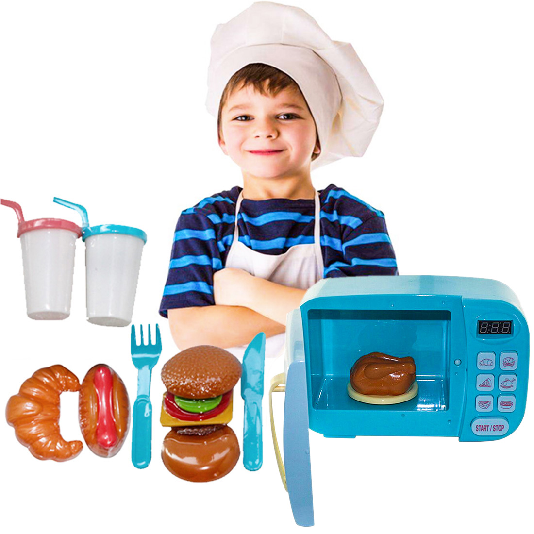 Children Pretend Play Toys Electric Home Appliances Simulation Microwave Oven Hamburger Roast Chicken with Light Rotate Playset