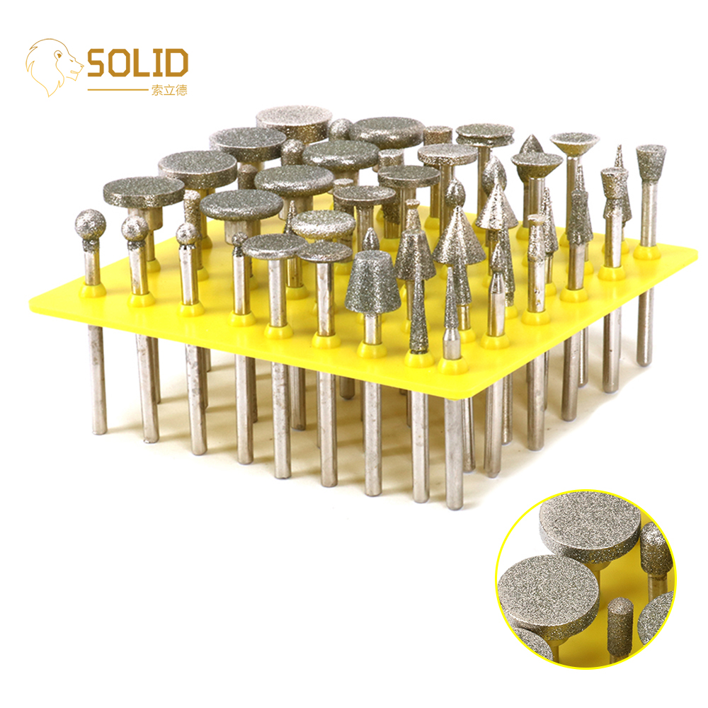 50Pcs 80 Grit Diamond Grinding Head With 1/8