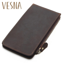 Vesna New Men Ultra-Thin Genuine Leather Big-Capacity Long Cards Package Multi-Card Bit Wallet Bag Man Bank Credit Card Holder
