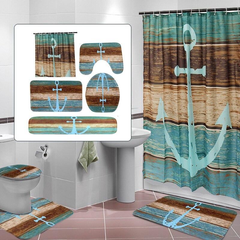 Bathroom Mat Set Retro Style Anchor Non Slip Carpet Toilet