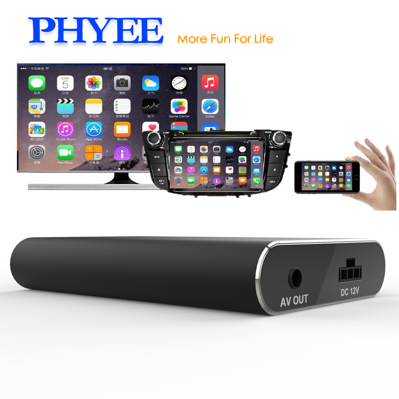 PHYEE Voiture Mirrorlink Boîte Écran Miroir Adaptateur USB Dongle Audio Vidéo Plug and Play HDMI CVBS MLC600 pour iOS Android dispositifs