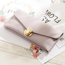 Womens Wallet Long Leather Large Capacity Multi-Card Metal Buckle Clutch Bag Tide
