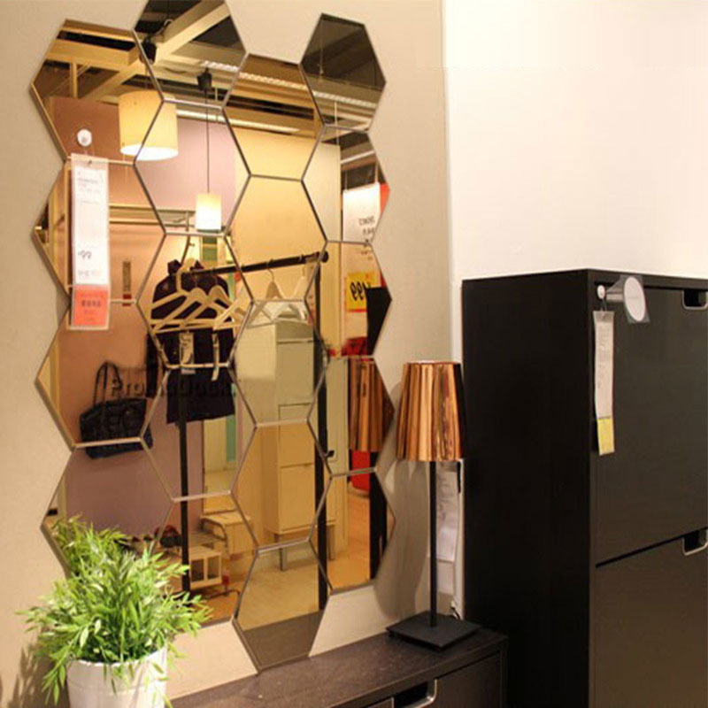 12Pcs 3D Hexagon Acrylic Mirror Wall Stickers DIY Art Wall Decor Stickers Home Decor Living Room Mirrored Decorative Sticker