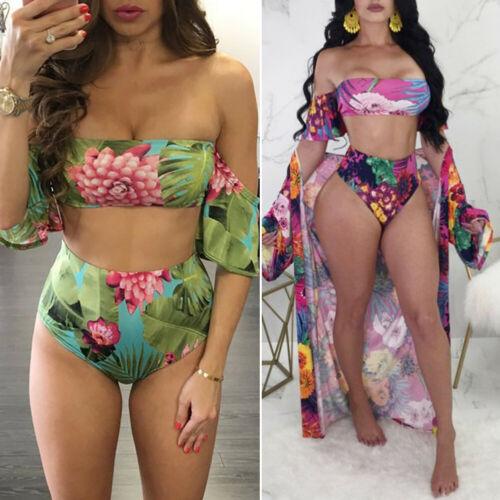 d557d82adae US $4.46 5% OFF 2Pcs Women Strapless Bikini Set Bandage Push Up Padded High  Waist Short Sleeve Swimwear Swimsuit Bathing Suit Swimming Suit-in Bikinis  ...