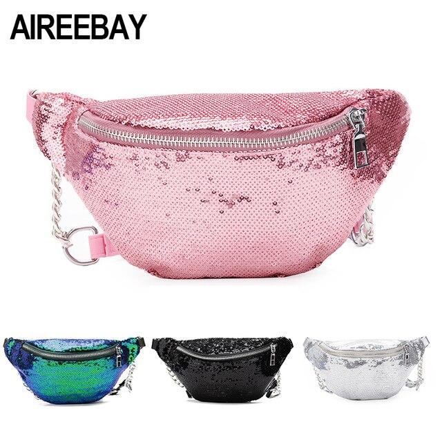 AIREEBAY Для женщин блесток Fanny Pack модная женская поясная сумка 2018 Новый нагрудная сумка блеск бум Ремни сумки Талия пакеты