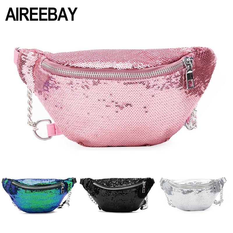 AIREEBAY Women Sequin Fanny Pack Fashion Female Waist Bag 2018 New Chest Pouch Shoulder Bag Glitter Bum Belts Bags Waist Packs