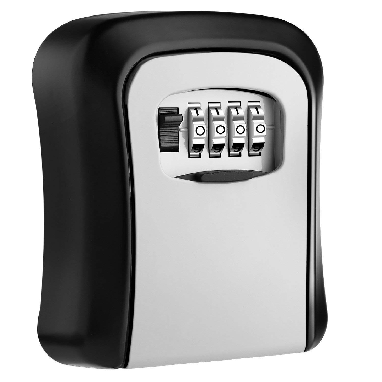 MOOL Key Lock Box Wall Mounted Aluminum Alloy Key Safe Box Weatherproof 4 Digit Combination Key Storage Lock Box Indoor Outdoo