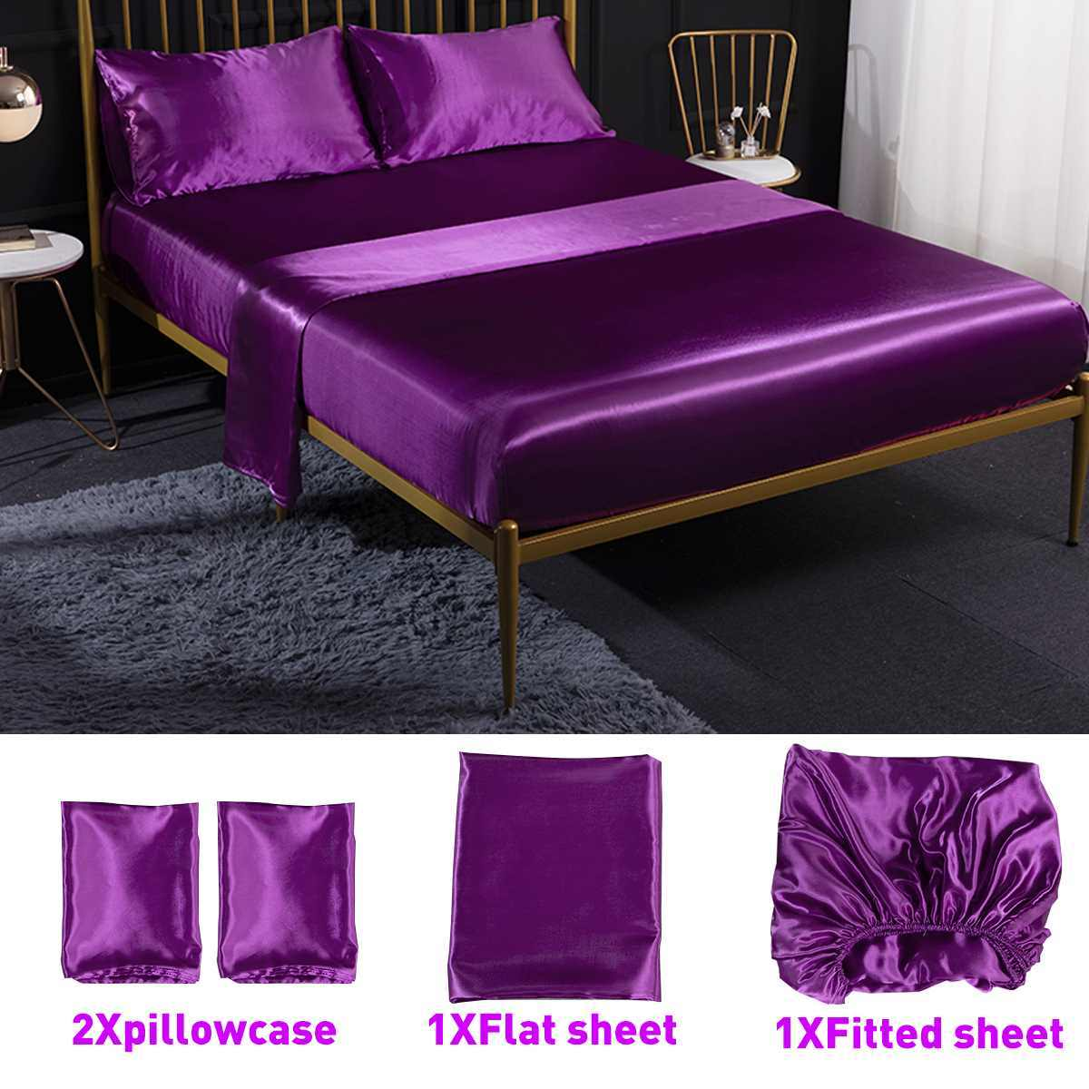 4Pcs Romantic Silk Bedding Set Soft Silk Satin Home Textile Bed Set Flat Sheet Fitted Sheet Pillowcase Twin/Full/Queen/King Size