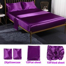 4Pcs Romantic Silk Bedding Set Soft Silk Satin Home Textile Bed Set Flat Sheet Fitted Sheet Pillowcase Twin/Full/Queen/King Size(China)