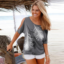 8ed6343198899 Summer T Shirt Women Casual Short Sleeve Peacock Feather Print Tshirt Sexy  Open Shoulder Tops Tee