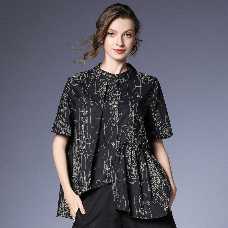 [EAM] 2019 New Spring Summer Stand Collr Half Sleeve Yellow Pattern Printed Irregular Big Size Shirt Women Blouse Fashion JS907-in Blouses & Shirts from Women's Clothing    2