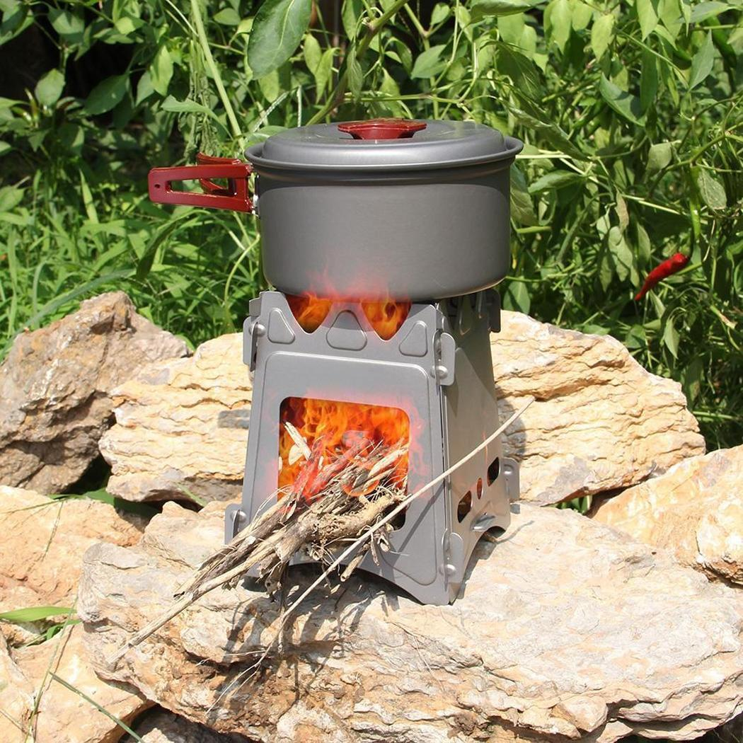 Silver Folding 2 and Portable Titanium Split Camping Structure Stove Outdoor Survival People 1 Firewood Branches Leaves