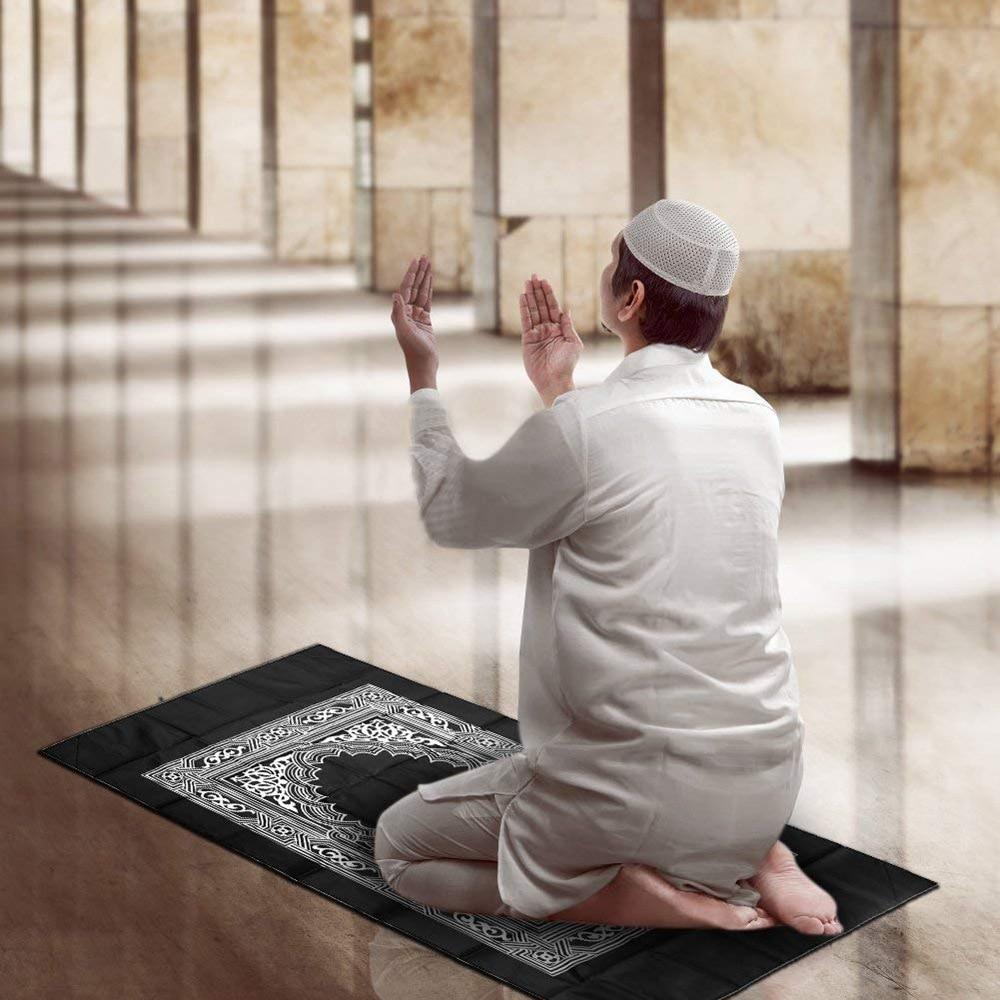YXY 100x60cm Portable Prayer Mat Kneeling Poly Rugs For Muslim Islam Waterproof Prayer Mat Worship Carpet Black Rug