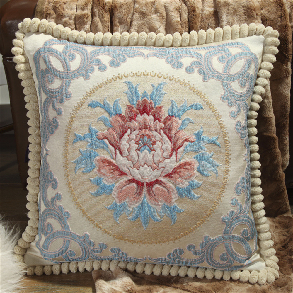 Luxury Embroidery Flower 48 x 48 Cm Velvet Blending Fabric Pillow Cover For Sofa Bed Cushion Cover Home Decor Almofada 01 in Cushion Cover from Home Garden