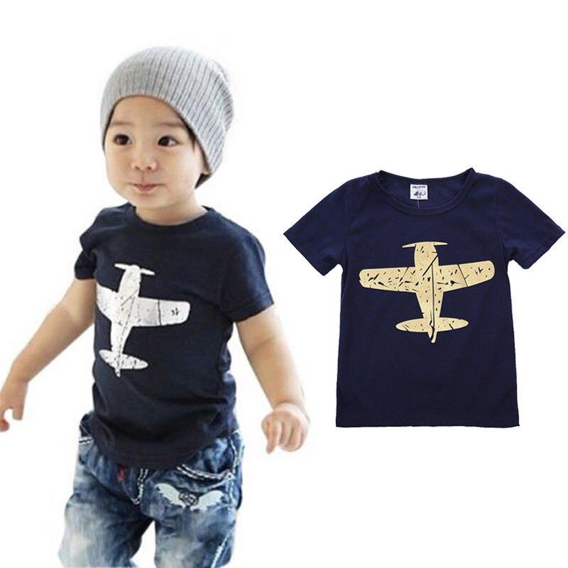 Aircraft Tops Short-Sleeve Airplane Printing-Tshirt Plain Blue Baby Cotton New Born Boys