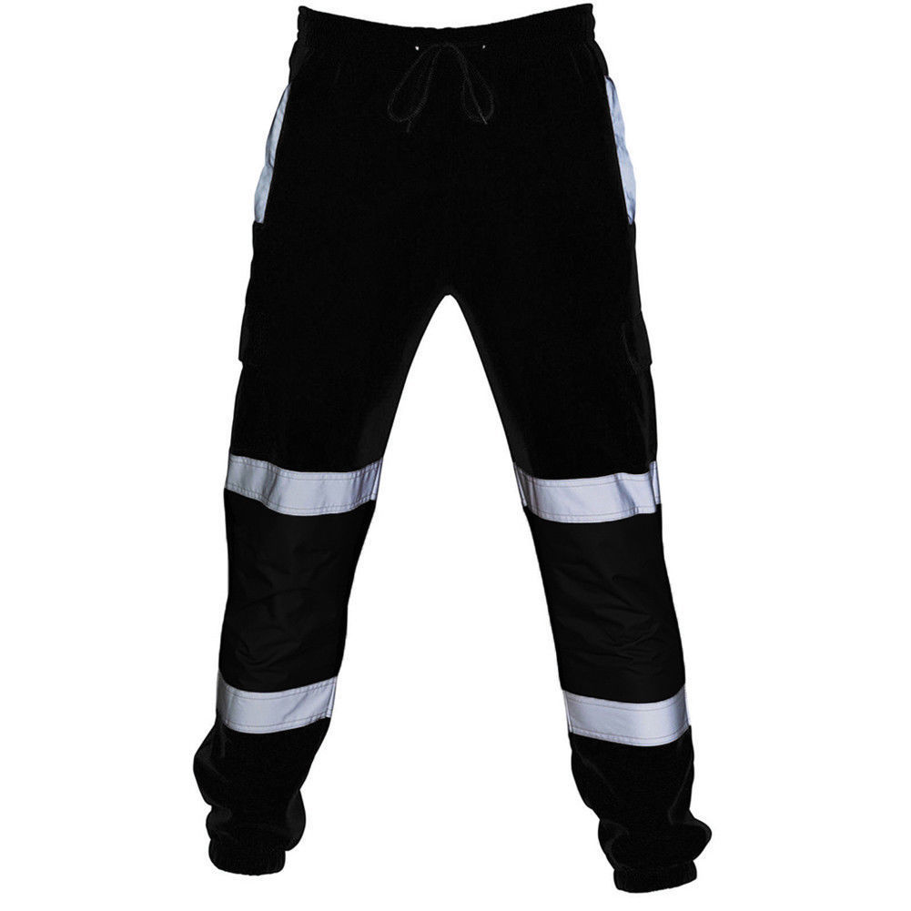 Men's Sweatpants Reflective Stripped Pants Tracksuit Work Loose Joggers Cargo Pants Trousers