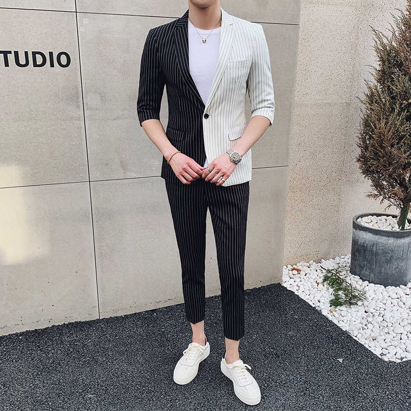 (Jacket+pant )Black White  Contrast Stripe Men Suit For Wedding Summer Men Tuxedo Suit Smoking Homme Mariage  Men Suit Slim Fit