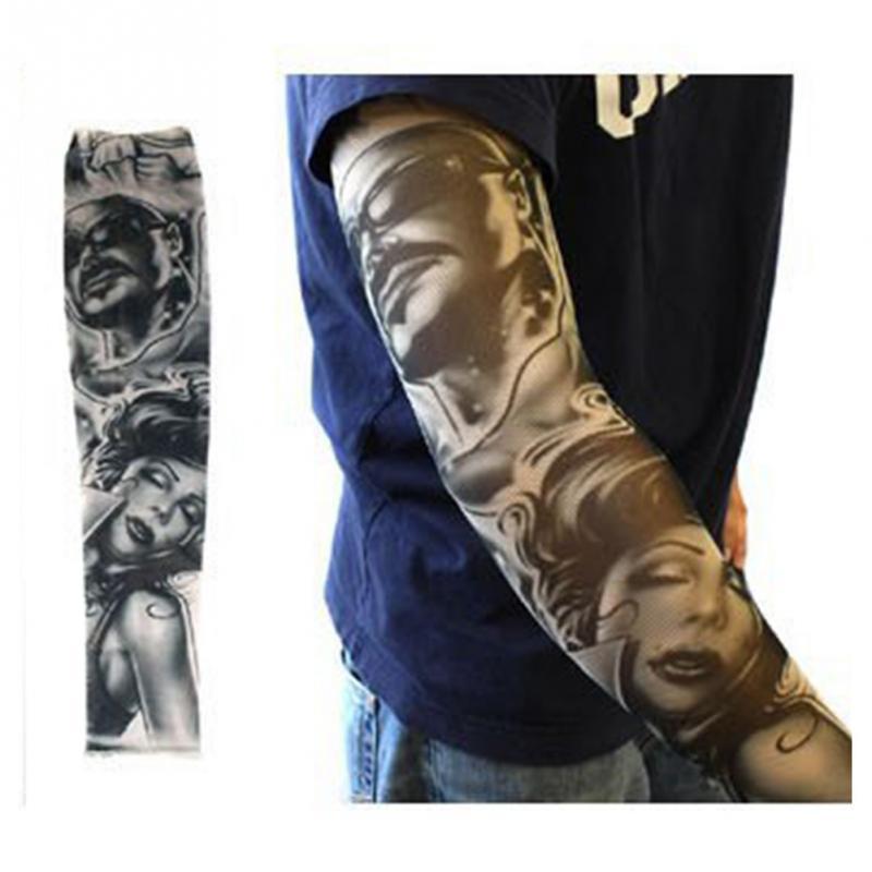 Fashion Cool Tattoo Arm Leg Sleeves Elastic Nylon Fake Temporary Body Arm Stockings Sun Protection