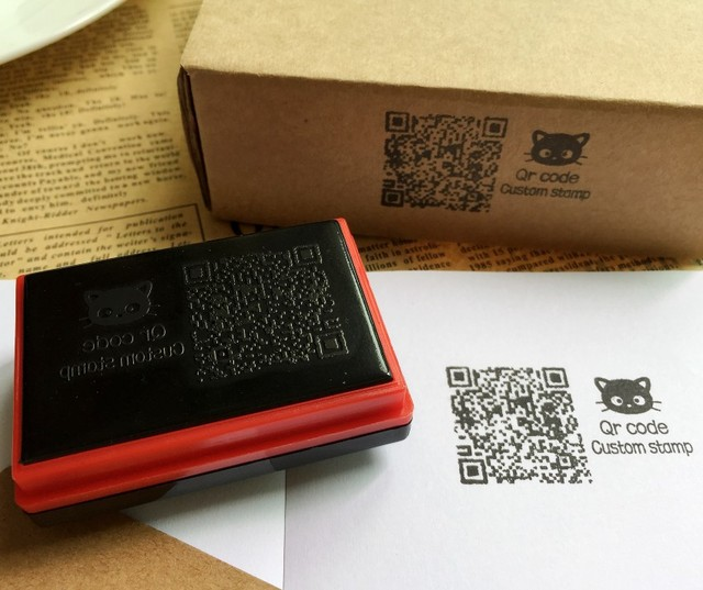 Qr Code Stamp Custom Photosensitive Seal Personalized Logo Self Inking