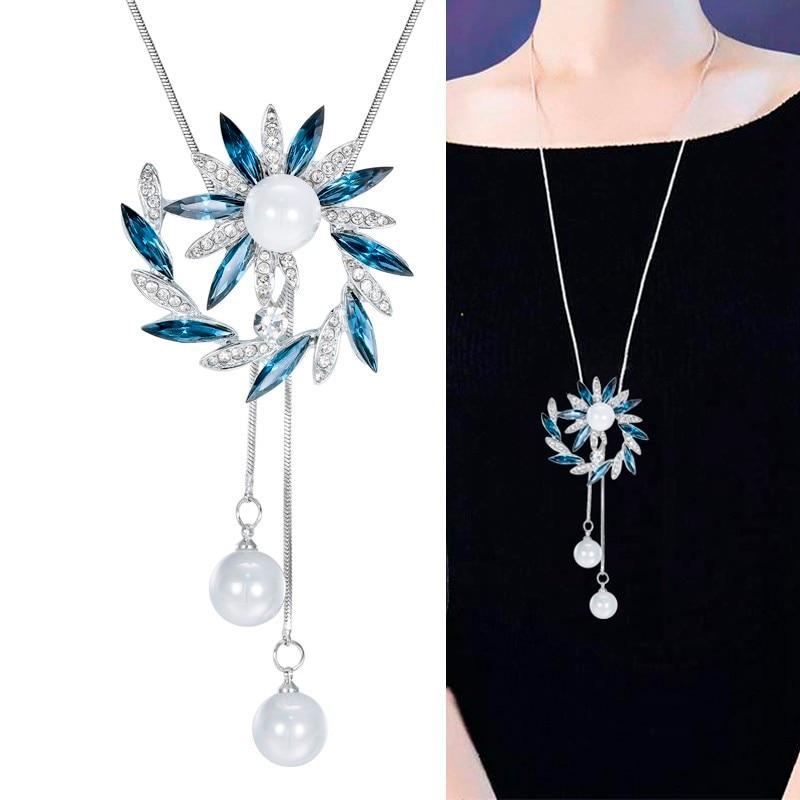 c979459f41a1 Cristal collares para las mujeres joyería de moda 2019 simulado flor perla gargantilla  collares y colgantes Cadena de suéter Collier