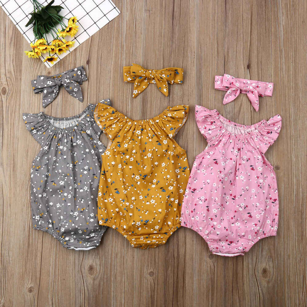 2019 kinder Sommer Kleidung Neugeborenen Baby Mädchen Kleidung Ärmellose Floral Body Stirnband 2PCS Overall Overall Outfit