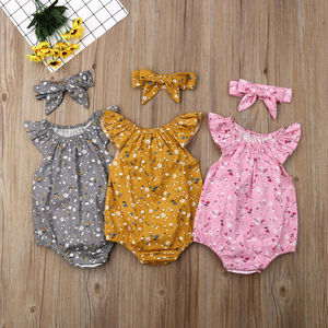 2019 Children Summer Clothing Newborn Infant Baby Girl Clothes Sleeveless Floral Bodysuit Headband 2PCS Jumpsuit Playsuit Outfit(China)