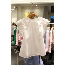 2019 Summer New O-Neck Pleated White Shirts Women Fashion Petal Sleeve Casual Blouse Short Sweet Solid Loose Tops petal sleeve pleated detail curved hem blouse