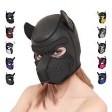 Sexy Dog BDSM Bondage Puppy Play Hoods Slave Rubber Pup Mask Fetish Adult Games