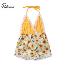 3M-5Y Pudcoco Baby Girls Lace Sunflower Romper Toddler Kids Sleeveless Floral Sunsuit Outfits Set(China)