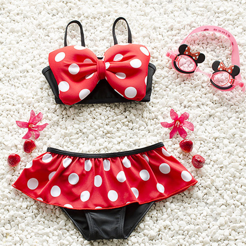 2019 Summer Baby Girl Kids Red Bow Bathing Suit Dot Swimwear Bikini Set Tankini Swimsuit(China)